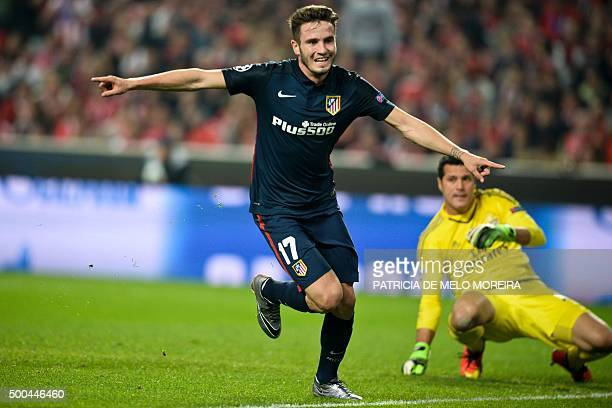 Atletico Madrid's midfielder Saul Niguez celebrates after scoring a goal against SL Benfica during the UEFA Champions League Group C football match...