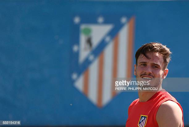 Atletico Madrid's midfielder Saul Niguez trains during the club's Open Media Day at Wanda Complex training grounds in Majadahonda on May 21 2016 /...