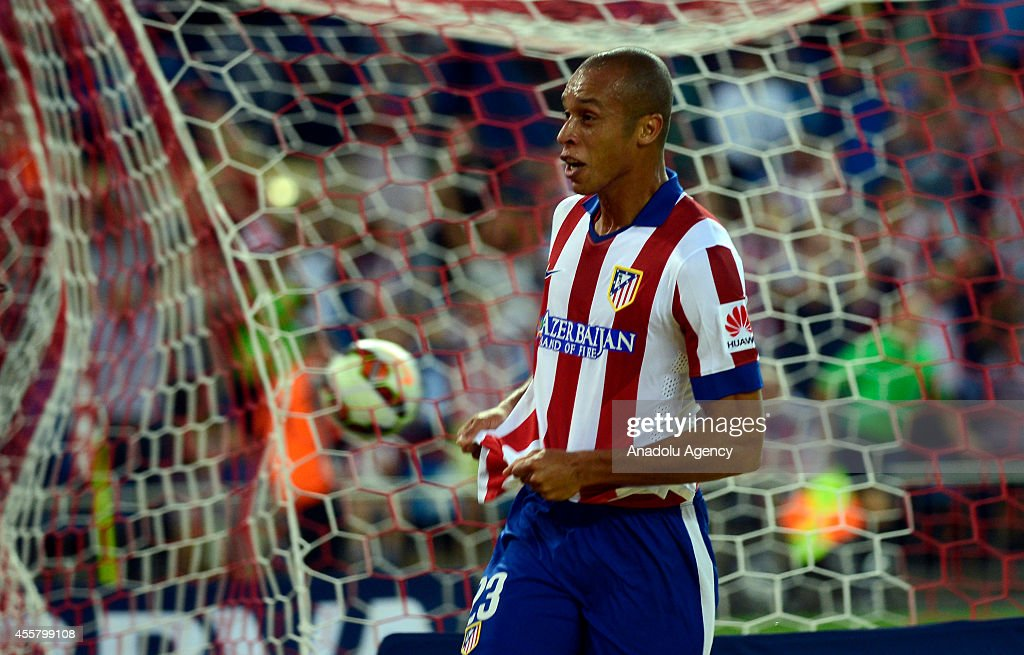 Atletico Madrid's Miranda celebrates after scoring a goal during the Spanish La Liga soccer match between Atletico Madrid and Celta at Vicente...