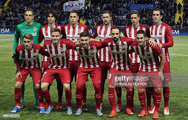 Atletico Madrid's players pose for media prior to the UEFA Champions League group C football match between FC Astana and Club Atletico de Madrid at...