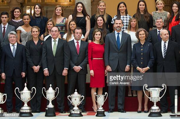 Atletico Madrid's President Enrique Cerezo Princess Elena of Spain President of Iberdrola energy group Ignacio Sanchez Galan President of FC...