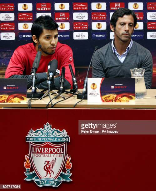 Atletico Madrid's Sergio Leonel Aguero and manager Quique Sanchez Flores during the press conference at Anfield Liverpool