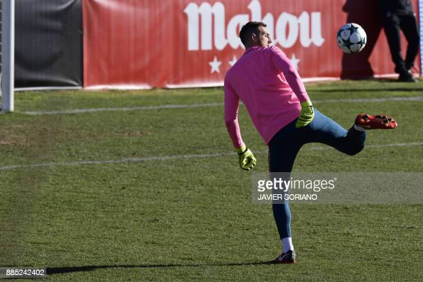Atletico Madrid's Slovenian goalkeeper Jan Oblak takes part in a training session at Atletico de Madrid's sport city in Majadahonda near Madrid on...