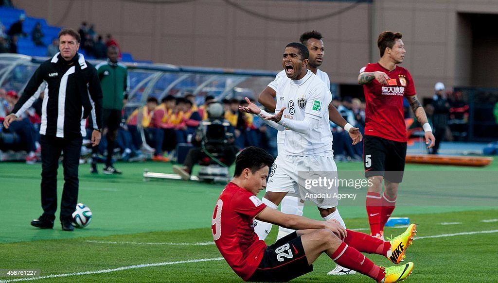Atletico Mineiro's Junior Cesar Eduardo Machado reacts after a position during the FIFA Club World Cup Morocco 2013 match between China's Guangzhou Evergrande and Brazil's Atletico Mineiro at Marrakesh Stadium on December 21, 2013.