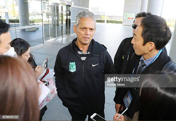 Atletico Nacional coach Reinaldo Rueda meets with reporters after arriving at Kansai International Airport in Osaka Prefecture on Dec 10 for the Club...
