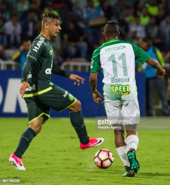 Atletico Nacional's Andres Ibarguen in action against Chapecoense's Joao Pedro during the Sudamericana 2017 south american cup final match between...