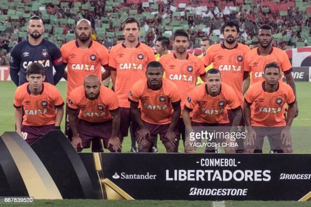 Atletico Paranaense playes pose before their 2017 Copa Libertadores football match against Flamengo at Maracana statidum in Rio de Janeiro Brazil on...