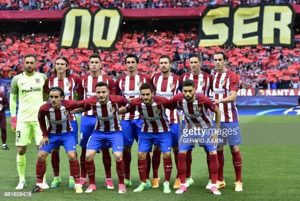 Atletico squad Atletico Madrid's Slovenian goalkeeper Jan Oblak Atletico Madrid's Brazilian defender Filipe Luis Atletico Madrid's Uruguayan defender...