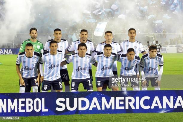 Atletico Tucuman team players pose before their Copa Sudamericana 2017 football match against Oriente Petrolero at the Jose Fierro stadium in Tucumán...