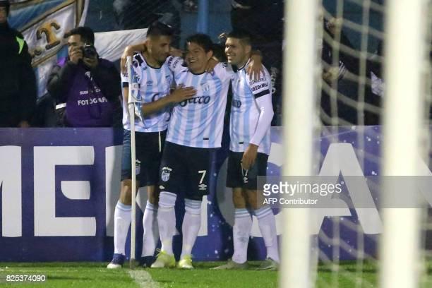 Atletico Tucuman's Luis Rodriguez celebrates with teammates upon scoring against Oriente Petrolero during their Copa Sudamericana 2017 football match...