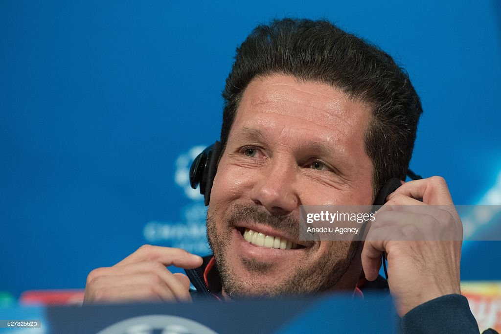 Atletico's coach Diego Simeone attends a news conference prior to the Champions League semifinal second leg soccer match between FC Bayern Munich and Atletico Madrid in Munich, Germany on May 2, 2016.