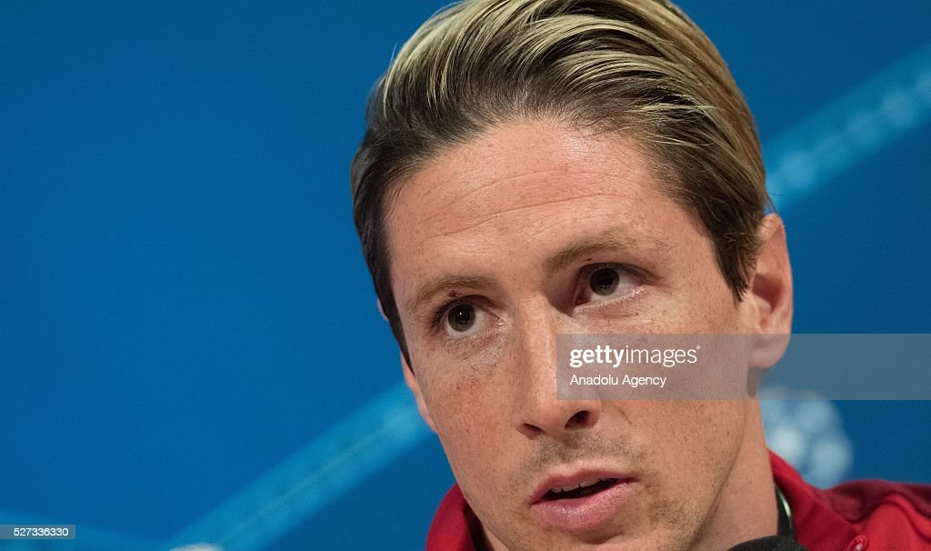 Atletico's Fernando Torres attends a news conference prior to the Champions League semifinal second leg soccer match between FC Bayern Munich and Atletico Madrid in Munich, Germany on May 2, 2016.