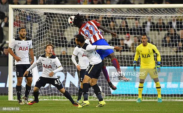 Atletico's Thomas Partey fires the ball at Tottenham Hotspur's goal during the International Champions Cup football match between English Premier...
