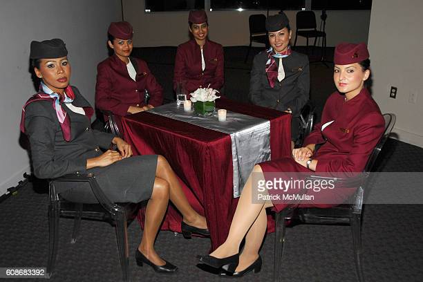 Atmosphere and Qatar Airways Flight Attendants attend QATAR AIRWAYS Gala Event to Celebrate Inaugural Flights to NYC at Frederick P Rose Hall on June...