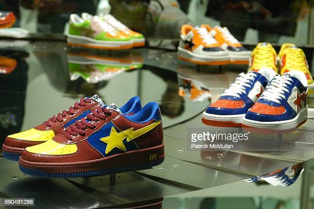 Atmosphere and sneakers attend Pharrell Williams Hosts the Store Opening of Nigo's 'A Bathing Ape' at A Bathing Ape Store on January 11 2005 in New...