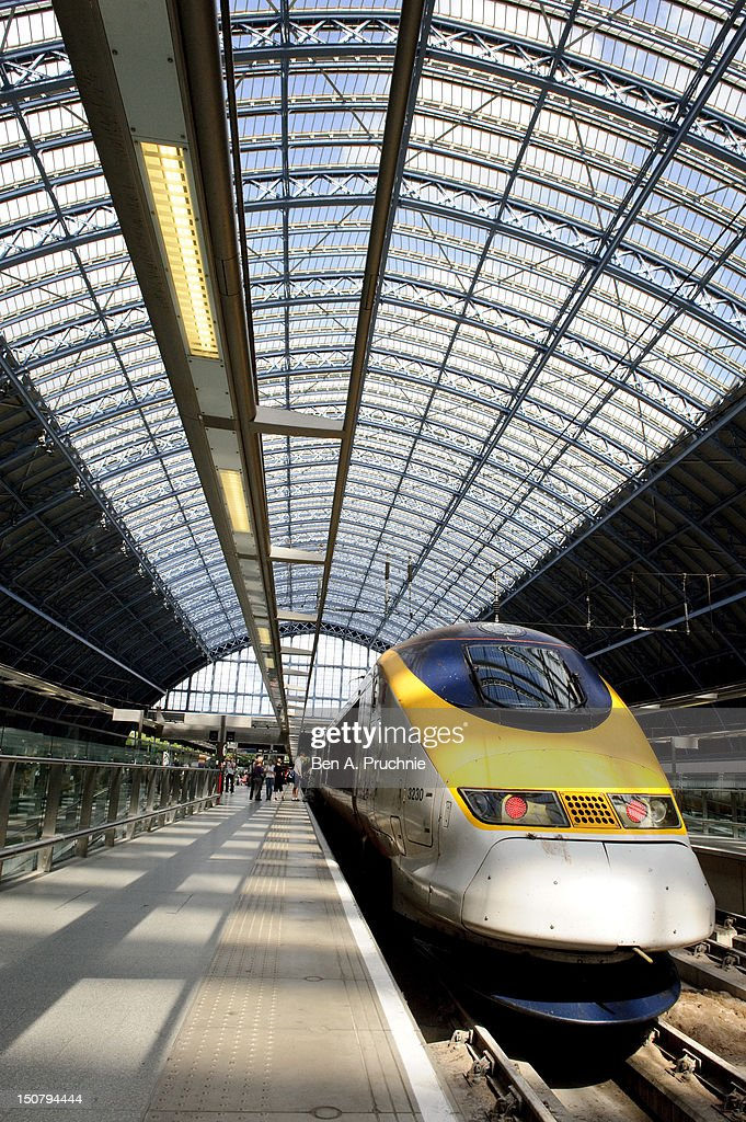 Atmosphere as members of Belgium's Paralympic team arrive by Eurostar at St Pancras International station on August 26 2012 in London England
