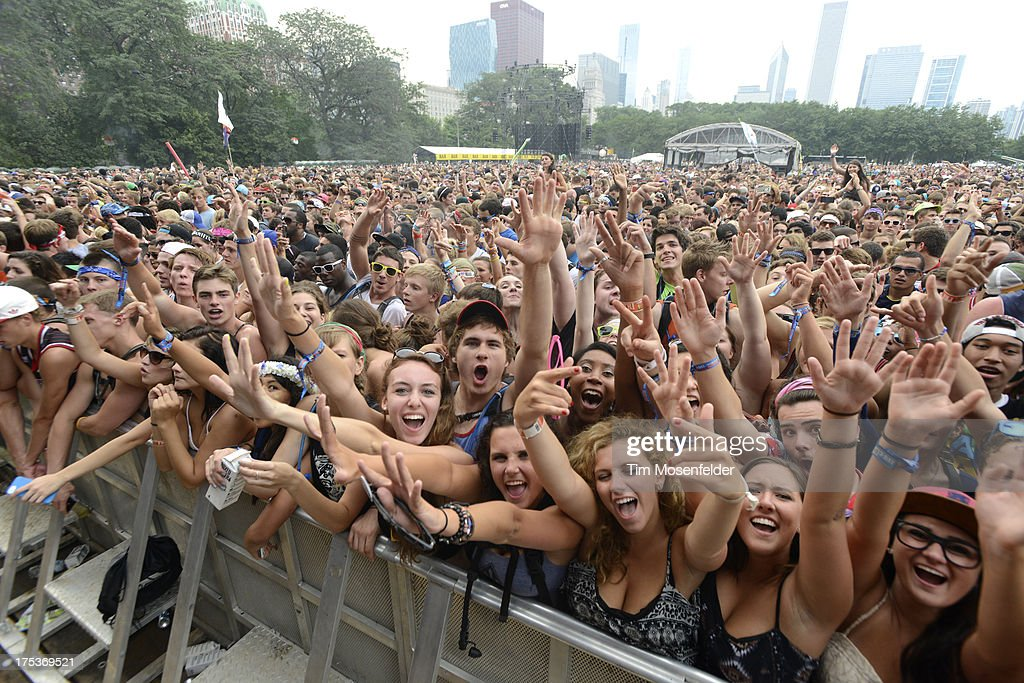 Atmosphere as Modestep performs at of Lollapalooza 2013 at Grant Park on August 2, 2013 in Chicago, Illinois.