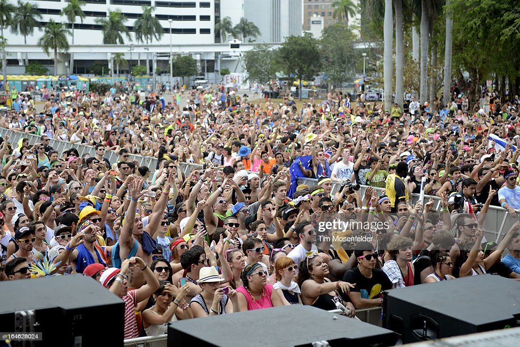 Atmosphere as Nervo perform at the Ultra Music Festival on March 24, 2013 in Miami, Florida.