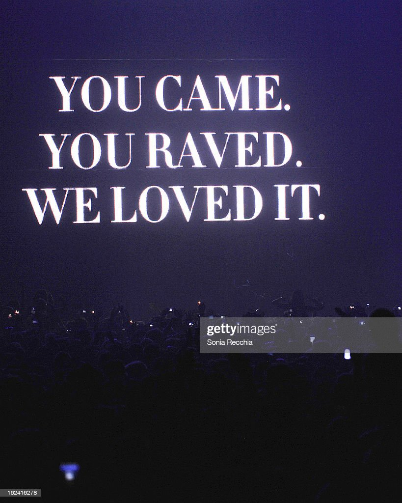 Atmosphere as Swedish House Mafia perform in concert at Rogers Centre on February 22, 2013 in Toronto, Canada.
