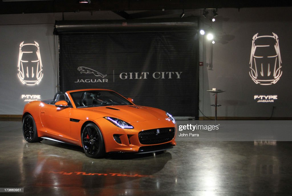 Atmosphere as the 2014 Jaguar F-TYPE on display at the Jaguar and Gilt City event to celebrate the #MyTurnToJag social contest at Soho Studios on July 15, 2013 in Miami, Florida.