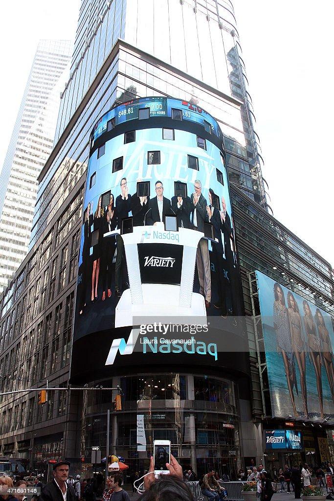 Atmosphere as Variety EditorInChief Andrew Wallenstein rings the NASDAQ Closing Bell at NASDAQ MarketSite on April 30 2015 in New York City