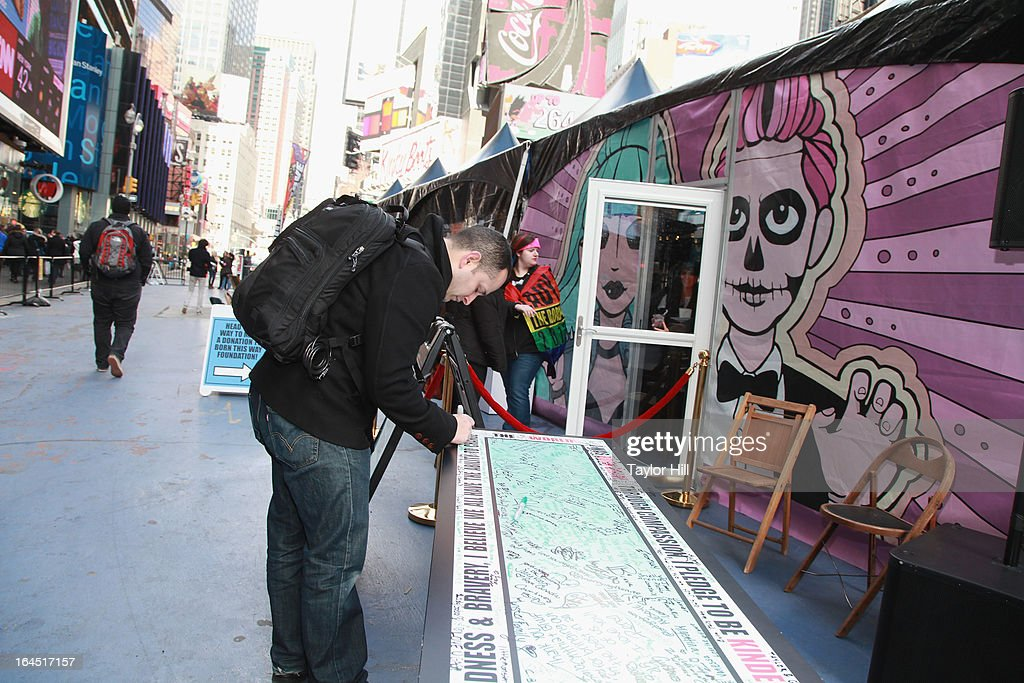 Atmosphere at Lady Gaga's Born Brave Bus Tour in Times Square on March 23, 2013 in New York City.