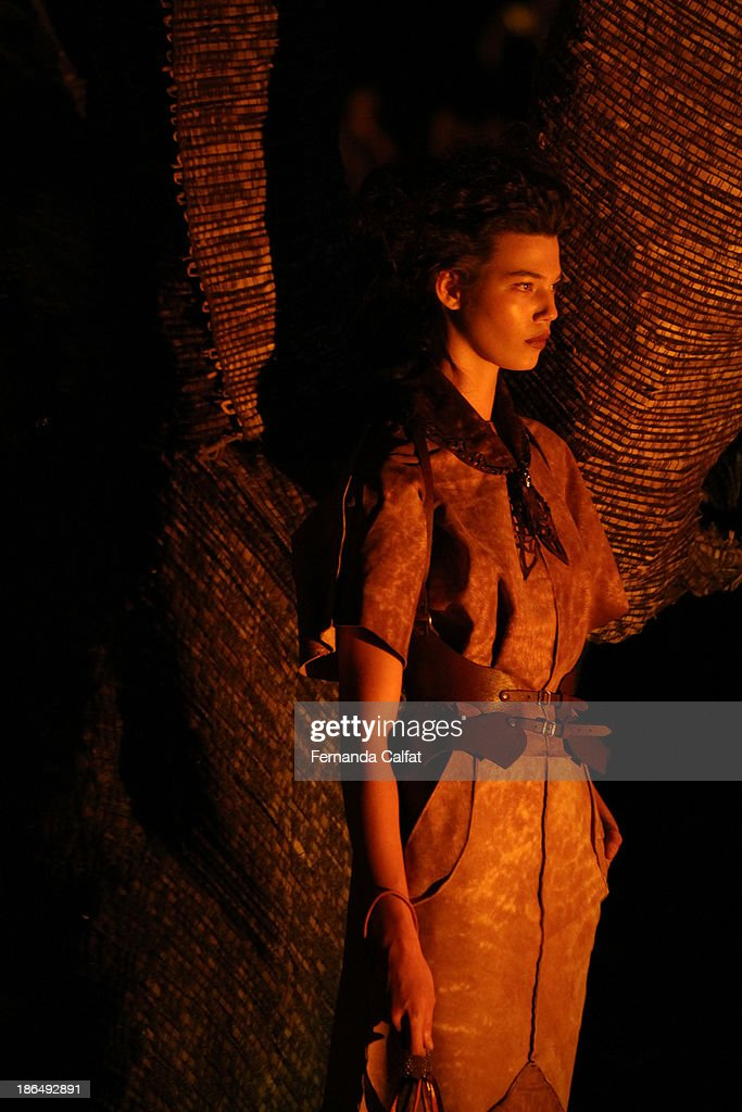 Atmosphere at runway during Ronaldo Fraga show at Sao Paulo Fashion Week Winter 2014 on October 31, 2013 in Sao Paulo, Brazil.