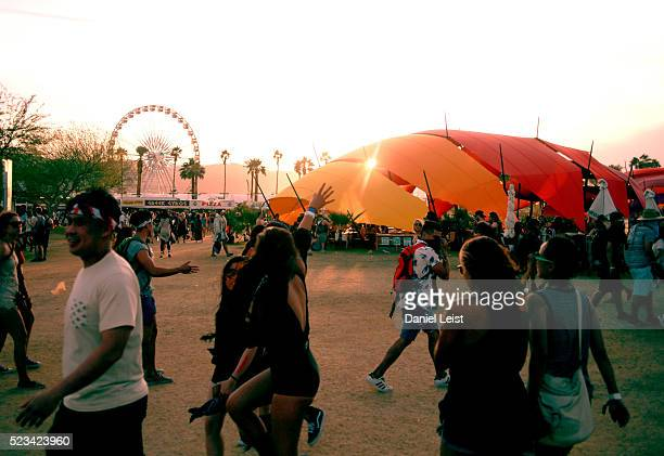 Atmosphere at sunset during day 1 of the 2016 Coachella Valley Music Arts Festival Weekend 2 at the Empire Polo Club on April 22 2016 in Indio...