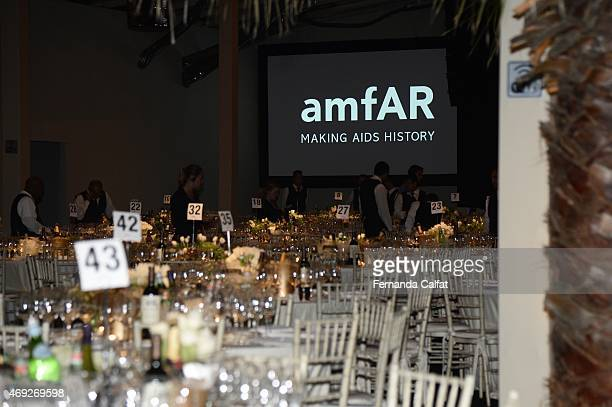 Atmosphere at the 5th Annual amfAR Inspiration Gala at the home of Dinho Diniz on April 10 2015 in Sao Paulo Brazil