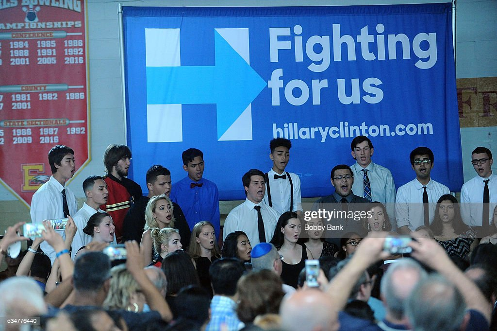 Atmosphere at the Bill Clinton 'Hillary Supporter Rallie' at Edison High School on May 27, 2016 in Edison, New Jersey.