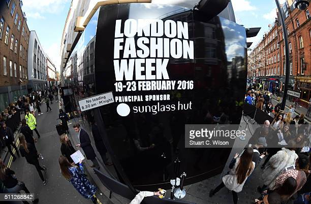 Atmosphere at the Brewer Street Carpark venue during day one of London Fashion Week Autumn/Winter 2016/17 at on February 19 2016 in London England