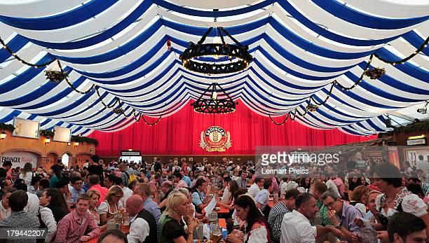 Atmosphere at the Erdinger Weissbraeu beer tent during the Erdinger Alkoholfrei Athleten Stammtisch at Erdinger Herbstfest on September 3 2013 in...