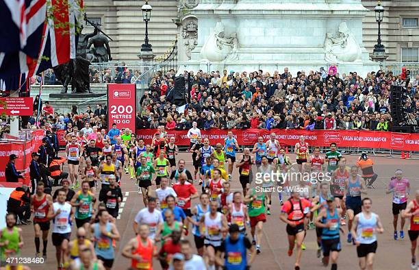 Atmosphere at the finish line during The London Marathon 2015 on April 26 2015 in London England