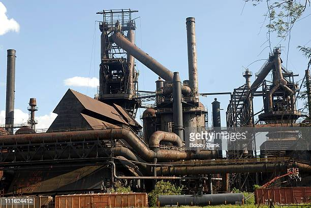 Atmosphere at the former Bethlehem Steel site for a nighttime war zone scene at the blast furnaces on location for 'Transformers 2' at the Bethlehem...