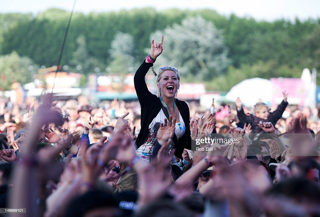 Atmosphere at the Isle Of Wight Festival at Seaclose Park on June 22, 2012 in Newport, Isle of Wight.