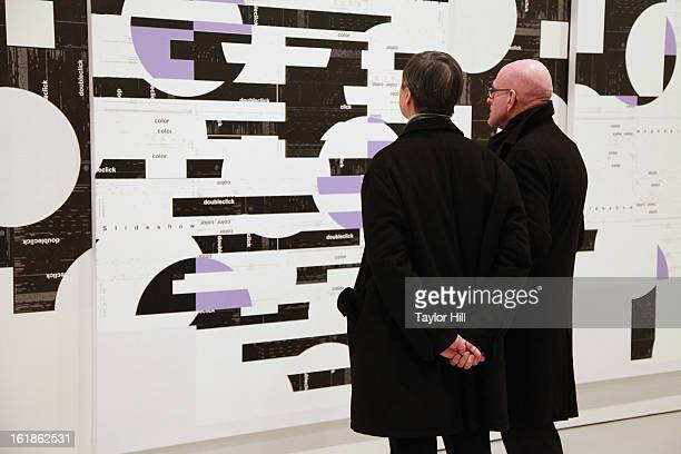 Atmosphere at the Michael Riedel Art Exhibition Powerpoint at David Zwirner Gallery on February 16 2013 in New York United States