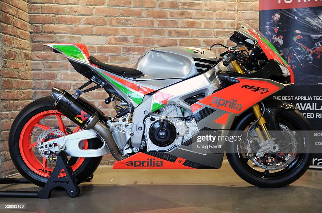 Atmosphere at the New York debut of the Aprilia RSV4 World SBK RF Misano & Moto Guzzi MGX-21 Flying Fortress at Vespa Manhattan Flagship on May 6, 2016 in New York City.