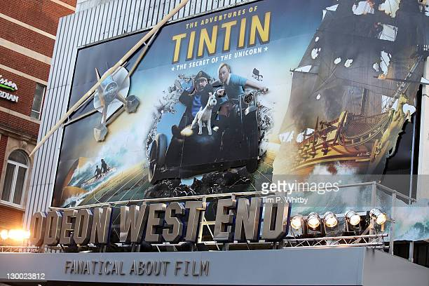 Atmosphere at the UK premiere of The Adventures Of Tintin The Secret Of The Unicorn at Odeon West End in Leicester Square on October 23 2011 in...