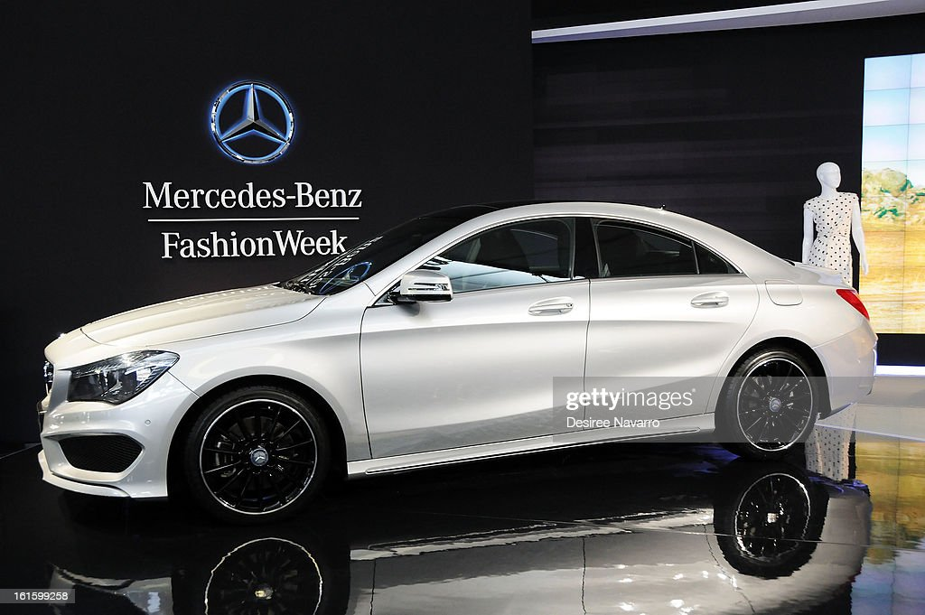 Atmosphere at the unveiling of the Fall 2013 Mercedes-Benz Fashion Collaboration featuring the Mercedes-Benz CLA-Class at Lincoln Center on February 12, 2013 in New York City.