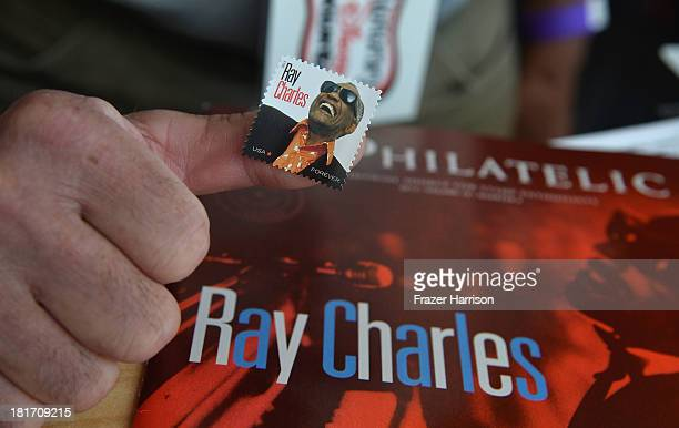 Atmosphere at the unveiling of the new Ray Charles stamp at the GRAMMY Museum in Los Angeles Calif on Monday September 23 2013 The limitededition...