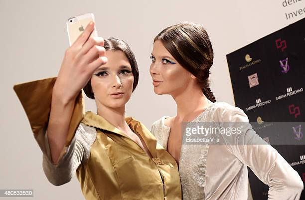 Atmosphere backstage at Sabrina Persechino fashion show as part of AltaRoma AltaModa Fashion Week Fall/Winter 2015/16 at Palazzo Delle Esposizioni on...