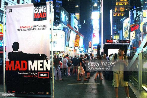 Atmosphere during a screening of the 'Mad Men' Season 3 premiere episode in Times Square on August 16 2009 in New York City