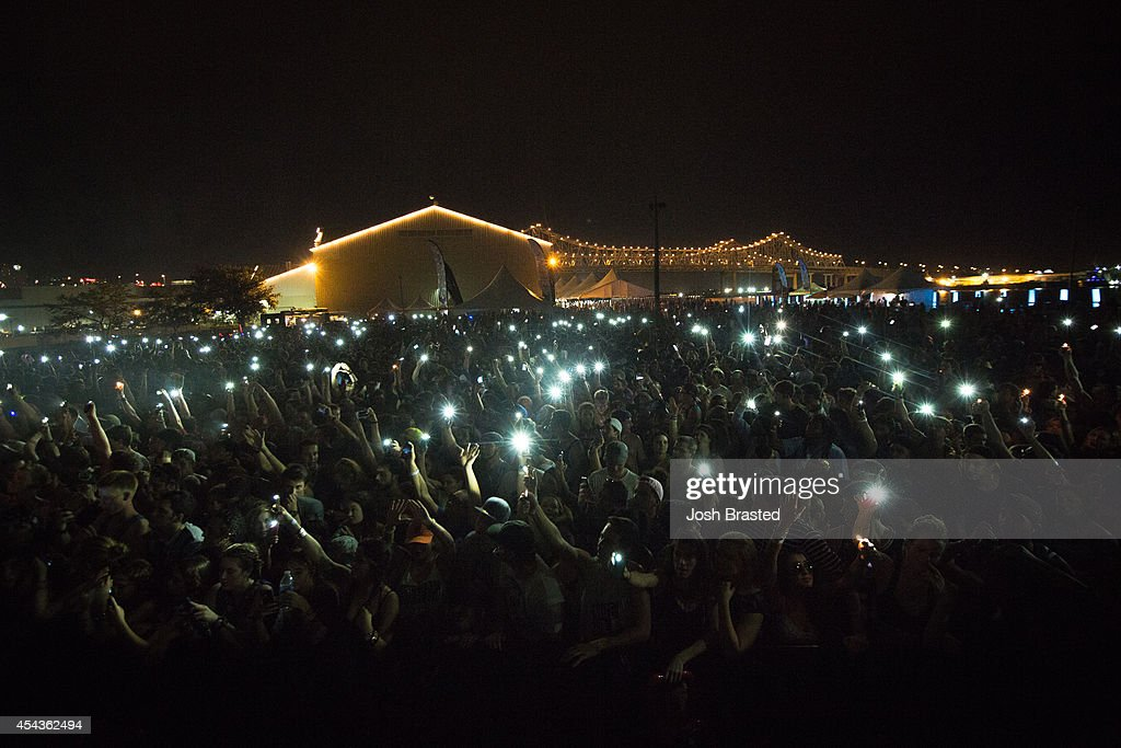 Atmosphere during Flosstradamus' set during Mad Decent Block Party at Mardi Gras World on August 29, 2014 in New Orleans, Louisiana.