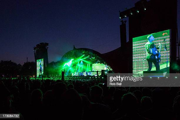 atmosphere during Metallica's headline show on Day 3 of Roskilde Festival 2013 on July 6 2013 in Roskilde Denmark