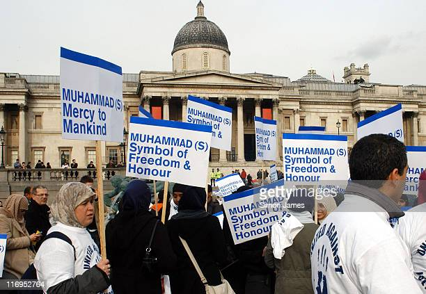 Atmosphere during 'Muslim Unite' Rally Against Incitement and Islamophobia February 11 2006 at Trafalgar Square in London Great Britain