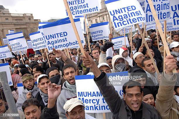 Atmosphere during Rally Against Incitement and Islamophobia in Trafalgar Square February 10 2006 at Trafalgar Square in London Great Britain