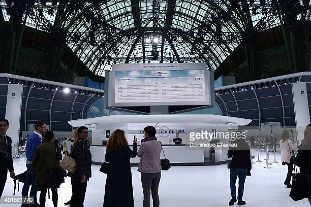 Atmosphere during the Chanel show as part of the Paris Fashion Week Womenswear Spring/Summer 2016 on October 6 2015 in Paris France