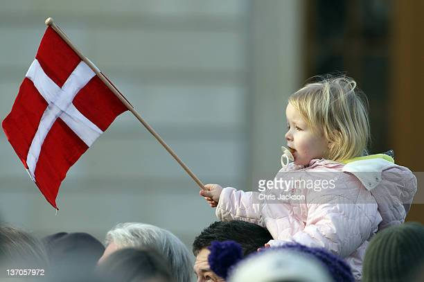 Atmosphere during the Danish Royal Family's appearance on the balcony to celebrate Queen Margarethe II of Denmark's 40 years on the throne at...