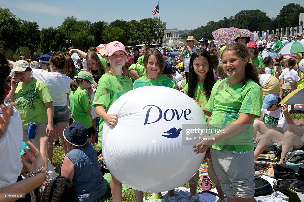 Atmosphere during the Dove presentation of positive role models at 'Girl Scouts Rock The Mall' at the National Mall on June 9, 2012 in Washington, DC.