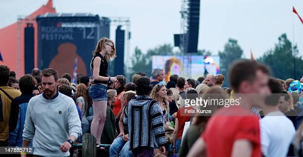 Atmosphere during the Roskilde Festival 2012 on July 5 2012 in Roskilde Denmark